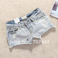 Free shipping 2013 Four seasons vintage denim shorts women ae fashion sexy hole jeans shorts Light blue hot pants