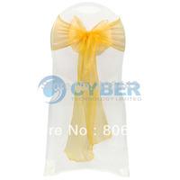 "100Pcs/Lot Wedding Organza 7.0"" x 107.3"" Organza Chair Cover Sashes Bow Sash Wedding Banquet Party Decoration  9226"
