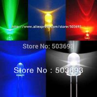 Free Shipping 5valuesx200pcs=1000pcs  UltraBright Red/Green/Blue/White/Yellow Ultra Bright 5mm Round LED Diode F5 Led