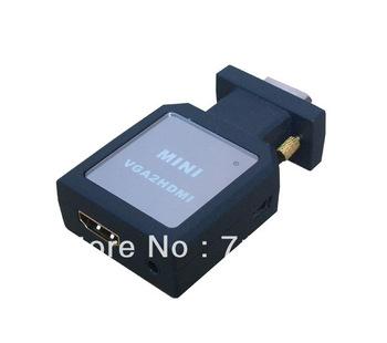 Free Shipping VGA2HDMI Mini VGA TO HDMI COnverter Mini VGA Male 15pin to HDMI Converter Adapter w/ USB VGA 3.5mm Audio Cable