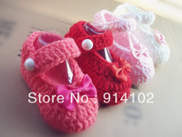 Factory directly Crochet Baby Shoes  exclusive Handmade Toddlers shoes Infant Girls bowktie shoe for newborns