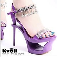 free shipping  size KVOLL fashion women sexy high heel sandals lady summer rhinestone shoes L61430 hot sale pumps size 34-39