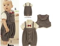 2013 New baby boy romper 2pcs set  vest+ romper baby clothing baby boy suit kids outerwear handsome design 0-2T Retail 209A