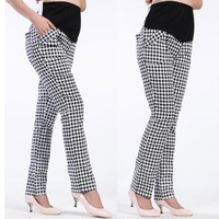 Maternity Cotton Plaid Belly Support Pant Pencil Pants for Pregnant Women Long Trousers 2014 Spring New Fashion Gravida Clothing