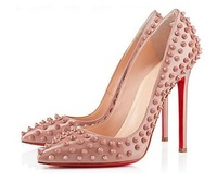 Sexy nude color systemic rivet pointed toe high heels cheap free shipping