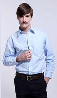 O Freeshipping 2013 New Autumn winter blue white man male men's cotton shirt Business casual slim fit shirt top FZ-M002-80S