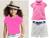 New, retails ,girls sports suit, girls T shirt+shorts, girls clothes set, not hat, 2T-7T size , 1 set/lot--JYS87A