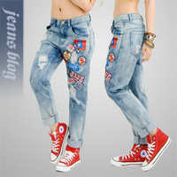 New 2013 woman big size plus regular full length jeans female  wide jeans winter women cargo pants SSY9968