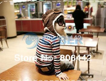 Wholesale 15Pcs/Lot Children Hats Boys Flight Caps Baby's Winter Hats Earflap Cap Beanie Pilot  B16 7753