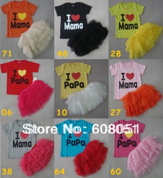 8.27 Promotion new 2013 children 2pcs suits i love papa mama t-shirt + tutu skirt girl clothing set 10colors high quality