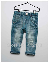 Brand 2013  kids  denim pants for children autumn trousers boys girls hole  rivets  jeans freeshipping