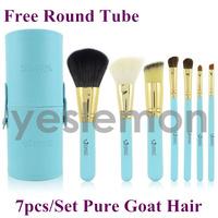 Portable Goat Hair 7pcs 7 pcs Makeup Brushes Set & Kits Makeup Brushes Tools Cosmetics Brushes For Makeup Blue + Free Round Tube