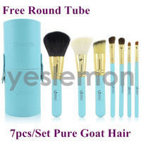 Portable Goat Hair 7pcs 7 pcs Makeup Brushes Set & Kits Makeup Brushes Tools Cosmetics Brushes For Makeup Blue + Free Round Tube