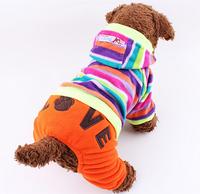 Dog Clothes Pet Product Dog Supplies Pet T-shirt Colorful Fantasy Bubble Stripes Four Legs Pants Double-faced Pile 1pcs/lot