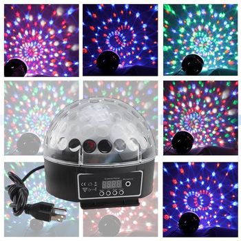 Led6*3W Channel DMX512 Control Digital LED RGB Crystal Magic Ball Effect Light  Disco DJ Stage Party Lighting Voice-activated