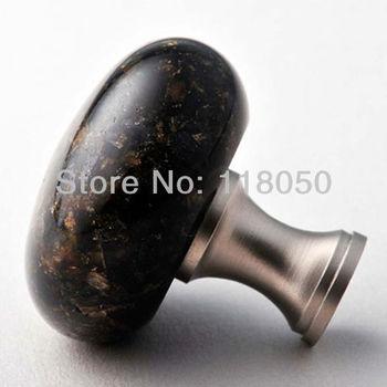 40mm Round Kitchen Cabinet  Knob Cupboard Door Knobs,Green Furniture Hardware,Brazil Verde Ubatuba Granite with Solid Brass Base