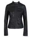 Free shipping womens pu black casual jacket synthetic leather black sexy jacket