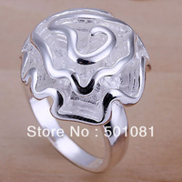 SQR005/ Beautiful Rose Flower Design decorated 925 Sterling Silver Rings Jewelry Wholesale Fashion Jewelry Full Sizes Available