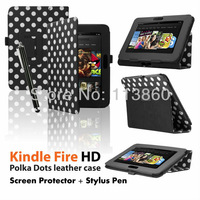 "5 Color Free shipping PU Leather Smart Flip Case Cover Stand for New Amazon Kindle Fire HD 7"" Screen Protector Stylus Touch Pen"