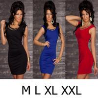Plus size M L XL XXL Elegant Women' s Women Blue Fashion Dress with Metal Chain Nightclub Clubwear Clubbing Dance Wear J8860