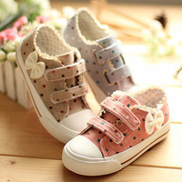 Size 23-37 children canvas shoes girls shoes kids sneakers flats bowknots dots high and low
