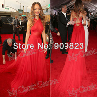 Grammy Awards 2013 New Arrival Rihanna Red Halter See-Through A-Line Chiffon Full Length Evening Red Carpet Celebrity Dresses