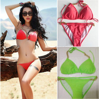 Freeshipping 2013 deep V style Pink chain swimsuits for women Hot sale Sexy Push UP TOP Pad string cute Bikini set