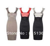 2014 dress brand new women lace dress color block decoration embroidery slim one-piece dress formal dresses