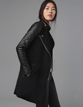W.ZXS Free Shipping hot selling 2013 new pu leather jacket black lamb coat stitching sewing leather sleeve coat hot2