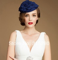 Women party fashionable luxurious top quality 100% wool felt top hats