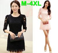 M-4XL 2014 Spring Summer Women Plus Size Half Sleeve Flower Crochet Lace Elegant Knee Length Dress Brand Evening Party Dress