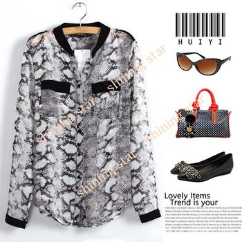 3 Sizes Women's Charming Chiffon Blouse Long Sleeve Snake Pattern V-Neck Shirt Free Shipping 11108