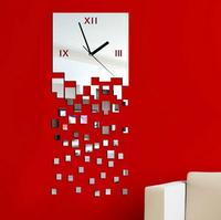 Home decoration wall clock modern design luxury mirror wall clock,3d crystal mirror wall watches michael wall clocks Z042
