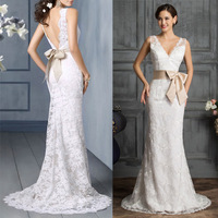 Free Shipping Grace Karin Sexy Stock Floor Length Deep V Lace + Satin Bridal Wedding Dress 2014 8 Size CL3850