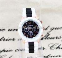 100 PCS Free DHL shipping New Fashion Brand Geneva jelly strap sport watch 11 colors--B052