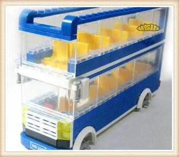 WANGE 302pcs/set DIY Blue City Doulbe-Decker Bus Toy,Children's Educational Assembly Blocks Toy 44131N, Free Shipping