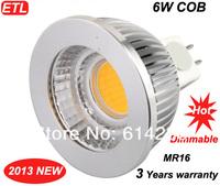 3 years warranty COB MR16 6W LED Spot Light Dimmable ETL UL CE ROHS DC12-24V 80 degree 500lm LED Spotlights 10pcs / lot