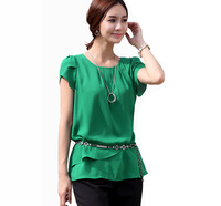 2014 Womens Plus Size Green White Patchwork Ruffle Swag Short Sleeve Summer Chiffon Blouses Brand Casual Loose Shirts Size M-4XL