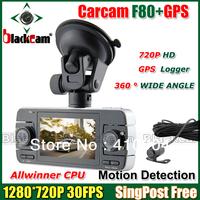 "Mini Car DVR 3 Channels Camera Recorder DVR H.264 F80 3 Lens Rear View Lens Car Camera 2.7"" LCD+Night Vision G-SENSOR GPS Logger"