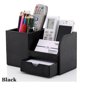 wooden struction leather multi-function desk stationery organizer storage box pen pencil box holder case container black 1302