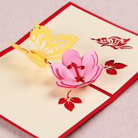 3D Butterfly & Flower Handmade Origami Pop UP Greeting Cards in Red & Blue Free Shipping (set of 10)
