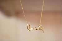 promotion fashion chic LOVE word pendant necklace fashion necklace free shipping HeHuanXL076