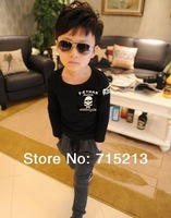 Free Shipping New 2014 spring children solid printing boys long-sleeved T -shirts Skull kids wear cotton boy clothing