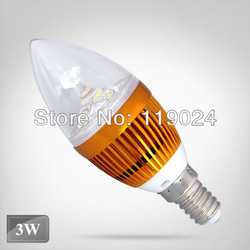 Free &amp; Drop Shipping High Power Warm White Energy-Saving LED Candle 3w Light Bulb Lamp AC 85-265v(China (Mainland))