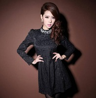 Spring And Summer 2013 Ladies Turtleneck Collar Rhinestone Slim Lace Long-Sleeve Dress Black And White