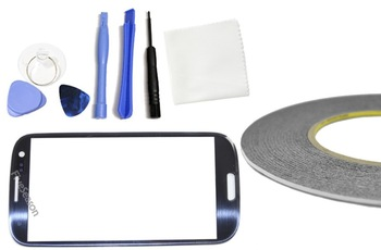 Front Glass for Samsung Galaxy GT i9300 S3 III  Replacement/Repair Screen (Pebble Blue) With Tool Set, Adhesive  and Film Guard