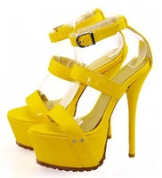 2013 Free Shipping  elegant buckle stiletto high heels woman sandals five colors
