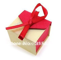 Free shipping,Jewelry box wholesale, High-grade Cube small paper box,Red and yellow two colors beautiful ring box