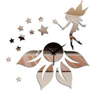 Min order 15 usd ( Mix items )Wall Clock mirror fairy star wall sticker wall Clock