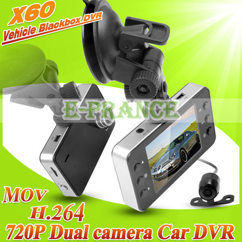 "2013 New 720P  Dual lens Car DVR +2.7 "" TFT LCD SCREEN+ H.264 +140 wide angle lens + G-sensor Motion Detection"